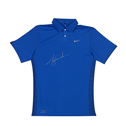 TIGER WOODS Signed Nike Performance Graphic Royal Blue Polo LE of 25 ()