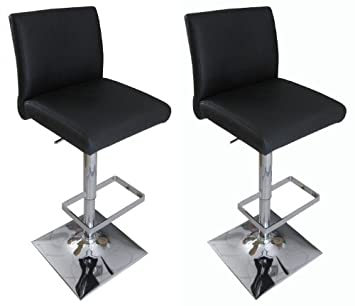 Pair of Snella Real Leather Bar Stool Black Breakfast Kitchen Bar Stool by Lamboro