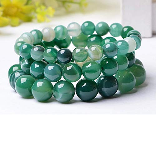 Gabcus Green Bracelet Natural Real Stones 6/8MM Beaded 7.5 Inch Strand Bracelet for Women Men Hot Sale Chearp Price 2017 Hot Sell - (Metal Color: 6mm)