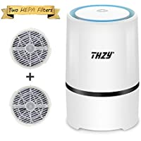 Desktop Air Purifier with True 2 HEPA Filters,THZY Portable Air lonizer USB Small Air Purifier with Night Light for Rooms and Offices,Reduces Allergens, Pollen, Dust, Mold, Pet Dander, Smoke and Odors