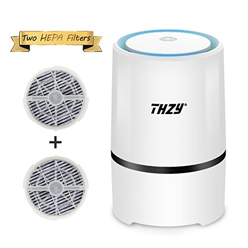 Desktop Air Purifier with True 2 HEPA Filters,THZY Portable Air lonizer USB Small Air Purifier with Night Light for Rooms and Offices,Reduces Allergens, Pollen, Dust, Mold, Pet Dander, Smoke and Odors by THZY