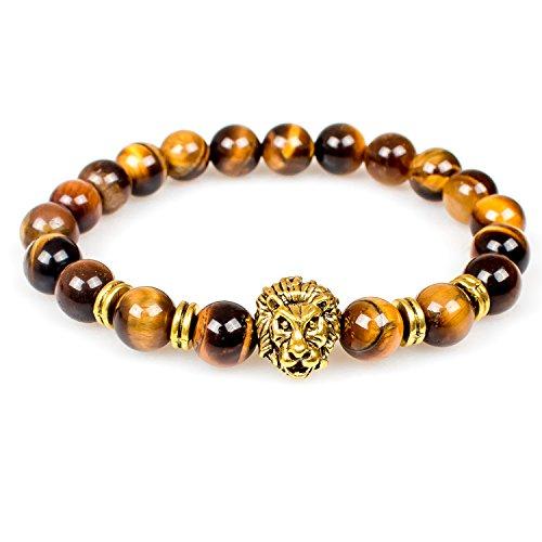 Lion Tiger (Bracelet,8MM Unisex Tiger Eye Healing Energy Stone Mala Beads with Gold Lion Bracelets(Tiger Eye,Golden Lion))