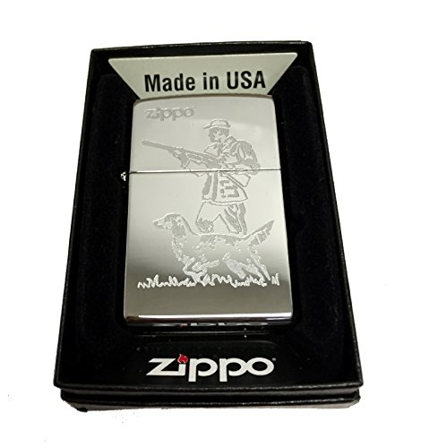 Zippo Custom Lighter - Hunter and Dog Laser Engraving with Name Logo - Regular High Polished Chrome by Zippo