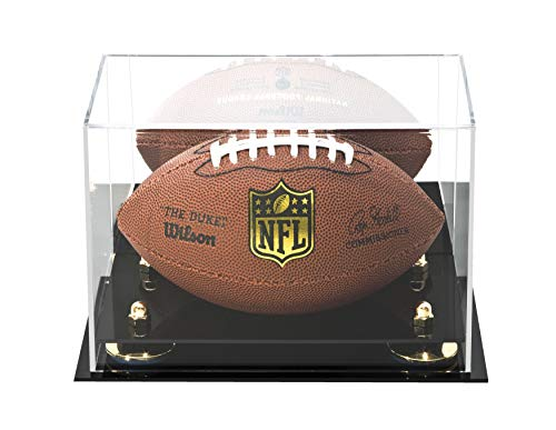 Deluxe Acrylic MINI - Miniature (not full size) Football Display Case with Gold Risers and Mirror (A005-GR) (Star Football Mini)