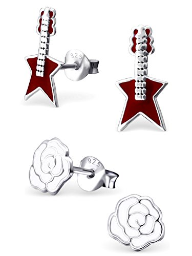 Price comparison product image 925 Sterling Silver Hypoallergenic Set of 2 Pairs Red Guitar & White Rose Flower Stud Earrings for Girls and Women (Nickel Free) 20787