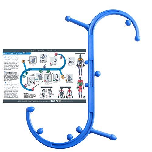 - Body Back Buddy Back Massager with Poster (Blue)   Handheld Massage Stick   Trigger Point Massager