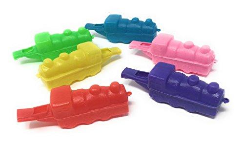 Bulk Toys 24 Pack Plastic Train Whistles, Birthday Party Fav