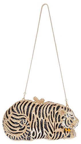 mossmon Luxury Crystal Clutches For Women Tiger Evening Bag (gold/style B) by Mossmon (Image #2)