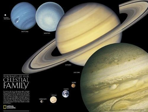 National Geographic: The Solar System: 2 sided Wall Map - Laminated (24.25 x 18.25 inches) (National Geographic Reference - Wall Solar Map System