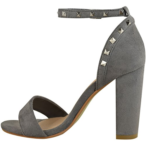 Womens Fashion Shoes Strap Party Thirsty High Ankle Grey Heels Suede Faux Studded Sandals Block Size FF1xq5Srw