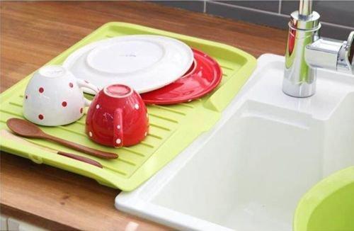 MAZIMARK-Kitchen Holder Tray Dish Plate Plastic Sink Drainer Drying Rack Fruits Washing by MAZIMARK