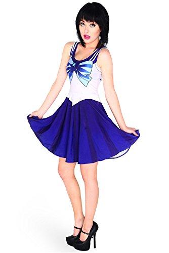 Rushine Women's Sailor Mercury Cosplay Costume One Piece Skater Dress XL