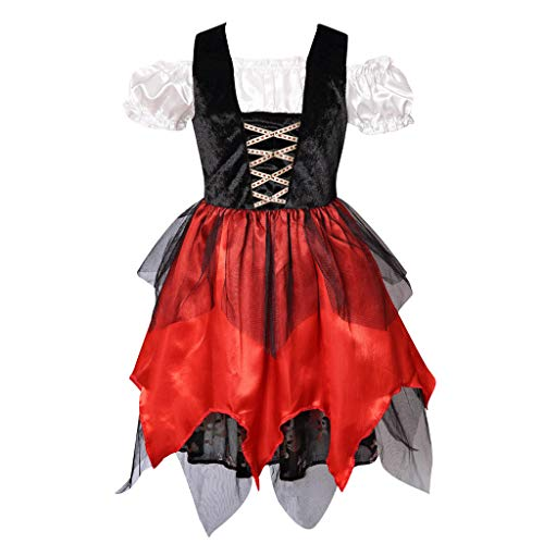 Meeyou Girls Pirate Princess Costume (XXL 10-12Y, Black&Red(Dress only)) ()