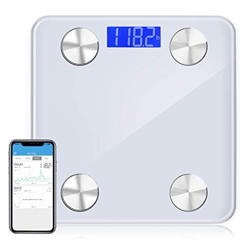 HUAXIN Body Fat Scale Digital Electronic Smart Wireless Weight Scale Bathroom Body Composition Analyzer with Smartphone and New Free APP Works with iOS and Andriod by Bluetooth (White)