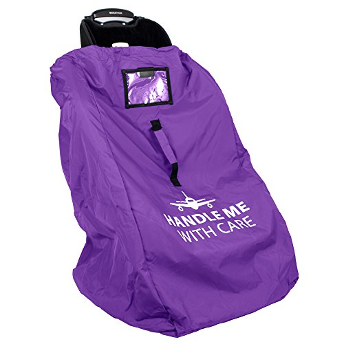 Car Seat Travel Bag Backpack for Gate Check Bag  Waterproof - 600D Nylon Fabric W/Adjustable Strap 18x18x34 inch (Purple)