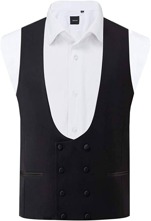 1920s Men's Fashion UK | Peaky Blinders Clothing Dobell Mens Black Tuxedo Waistcoat Slim Fit Double Breasted £39.99 AT vintagedancer.com