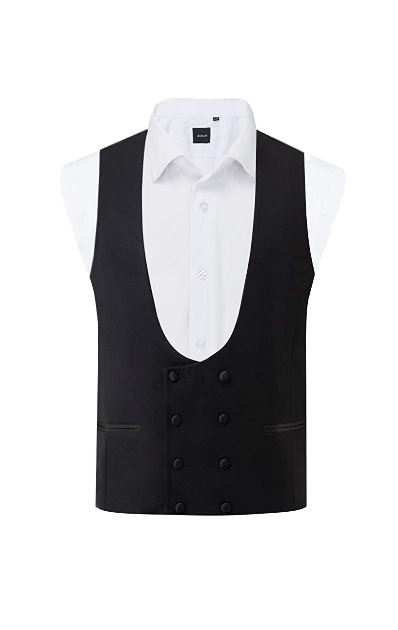 Edwardian Titanic Men's Formal Tuxedo Guide Dobell Mens Black Tuxedo Vest Slim Fit Double Breasted $49.95 AT vintagedancer.com