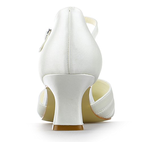 Carré Blanc Bobine Chaussures De Talon Mariage Pompes Femme En Orteil Satin Jia Mariée 583011 TZRqYx