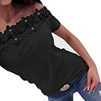 Women Girls T-shirt Off Shoulder Short Sleeve Lace Hollow Out Casual Top Slim Blouse