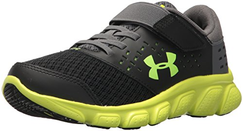 Under Armour Boys' Pre School Rave Adjustable Closure Athletic Shoe, Black (002)/High-Vis Yellow, 3