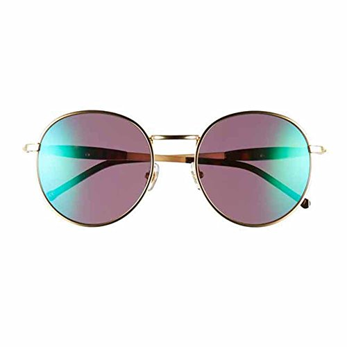 WILDFOX Women's Dakota Deluxe Non-Polarized Iridium Round Sunglasses, Gold/Tort, 54 - Sunglasses Wildfox