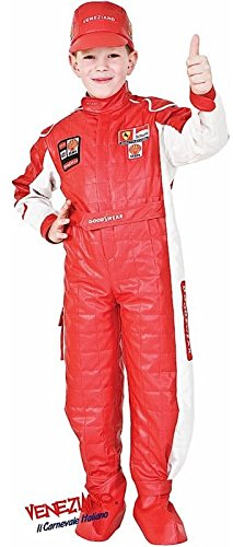 Deluxe Cars Costume - Italian Made Deluxe Baby & Older Boys Girls Red Racing Driver Car Racer Sports Fancy Dress Costume Outfit 0-12 years (7 years)