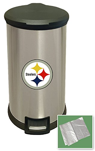 New 8 Gallon Round Stainless Steel Step Trash Can Waste Basket Featuring Your Choice of a Football Team Logo (Steelers Black Outline) by The Furniture Cove