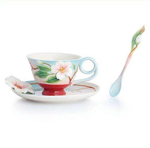 - Franz Porcelain Everlasting Love Camellia Cup Saucer Spoon Set