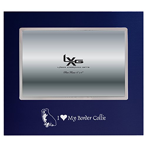 Picture Border Frame Collie - LXG, Inc. 4x6 Brushed Metal Picture Frame-I Love My Border Collie-Navy