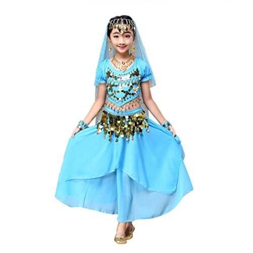 India Costume For Kid (Vanvler Kids' Girls Belly Dance Outfit Costume India Dance Clothes Top+Skirt (M, Blue))