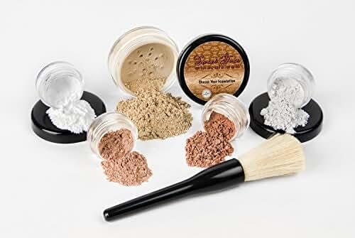 6 pc. STARTER KIT Mineral Makeup Set Bare Skin Matte Foundation Cover (Warm Neutral-most popular)
