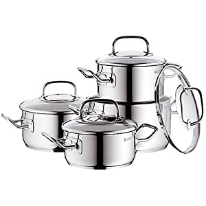 wmf professional plus 0716716380 cooking pot set 4 piece 2 stewing pans 16 20 cm 2. Black Bedroom Furniture Sets. Home Design Ideas