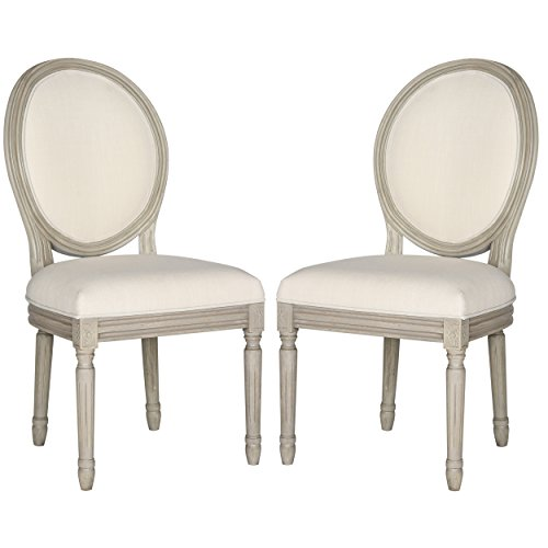 Safavieh Home Collection Holloway French Brasserie Light Beige Linen & Rustic Grey Oval Side Chair (Set of 2), 19