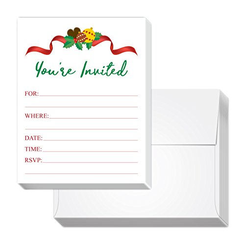 Holiday Party Invitations - Fill-In Style 20 cards with 20 envelopes - Great for Christmas Events (Red - Planning Years Party New