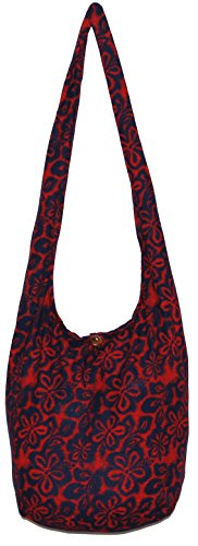 Flower Bohemian Hippie Hipster Hobo Boho Crossbody Shoulder Bag (Red) by All Best Thing