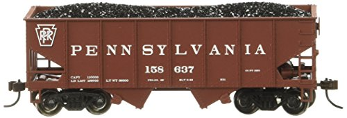 Bachmann Industries 158637 55 Ton 2-Bay USRA Outside Braced Hopper with Removable Load PRR Car, HO Scale