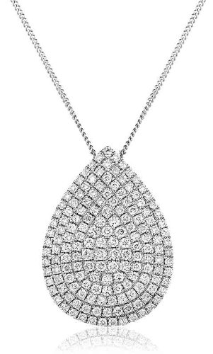 0.70CT Certified G/VS2 Round Brilliant Cut Micro Set Pear Shape Diamond Pendant in 18K White Gold