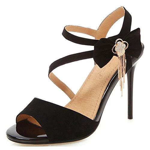 High Heel Hook - SaraIris Women's Open Toe Sandals Tassel Stiletto Heels Shoes Hook&Loop Cute Bow Dress Party Wedding Shoes