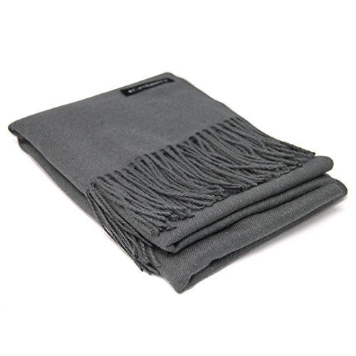 Light Grey 100% Cashmere Scarf - Gift Box, Large Size, Removable Tag, Limited ()