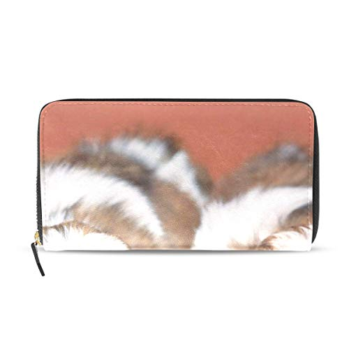 (Shih Tzu Puppies Genuine Leather Wallet Case Credit Card Holder Travel Purse With Zipper Pocket For Women )