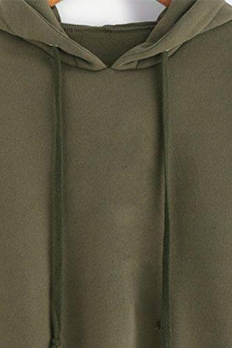 Babyonlinedress Sudadera de mujer cuello redondo capuchado manga larga estilo casual y holgado Verde