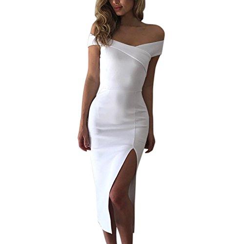Jolisson Robe Jupe Mi-longue Dress Dbardeur Femme Fille Epaule Nu Fente Haut Uni Mode Confort Simple Casual Vacances Bureau Soire Et Blanc