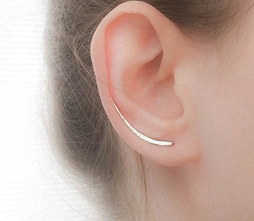 (Earrings Sterling Silver Ear Climbers Long Curved Bar Studs)