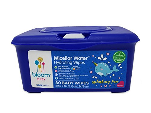 "Baby Wipes by bloom BABY | Micellar Water Hydrating Wipes | All Skin Types | Formulated for Diaper Area | Infused with Plant-Derived Vitamins | Hypoallergenic | Textured & Thick 8""x7"" Wipes 