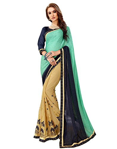 or Women's Embroidery Work Beige & Sea Green Self Jacquard & Dyed Georgette Saree with Un-Stiched Blouse Piece,Party Sari ()
