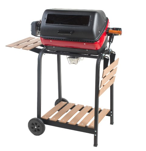 Easy Street Electric Cart Grill with two folding, composite-wood side tables, shelf and rotisserie by Easy Street