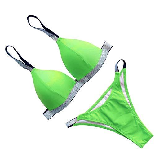 - Tantisy ♣↭♣ Women's Sexy Sequins 2PC Bra Swimsuit Low Waist Bikini Bottom Tankini Bathing Suits Green