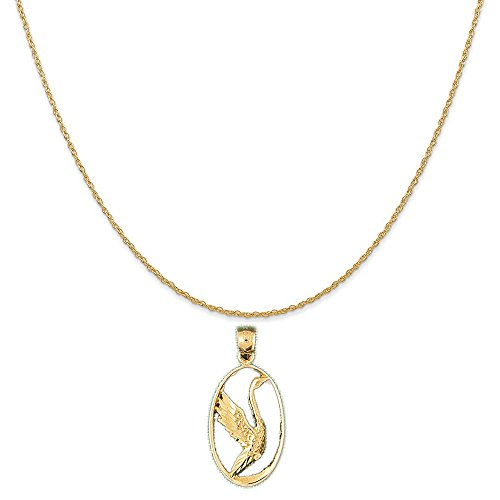 14k Yellow Gold Ducks Pendant on a 14K Yellow Gold Carded Rope Chain Necklace, 18'' by Eaton Creek Collection