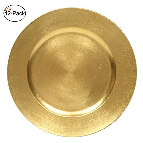 Tiger Chef 13-Inch Gold Metallic Charger Plates Set of 2,4,6, 12 or 24 Dinner Chargers (12-Pack)