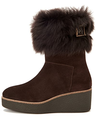 Aquatalia Donna Vallaine Scamosciato / Shearling Stivaletto Marrone Scuro Camoscio